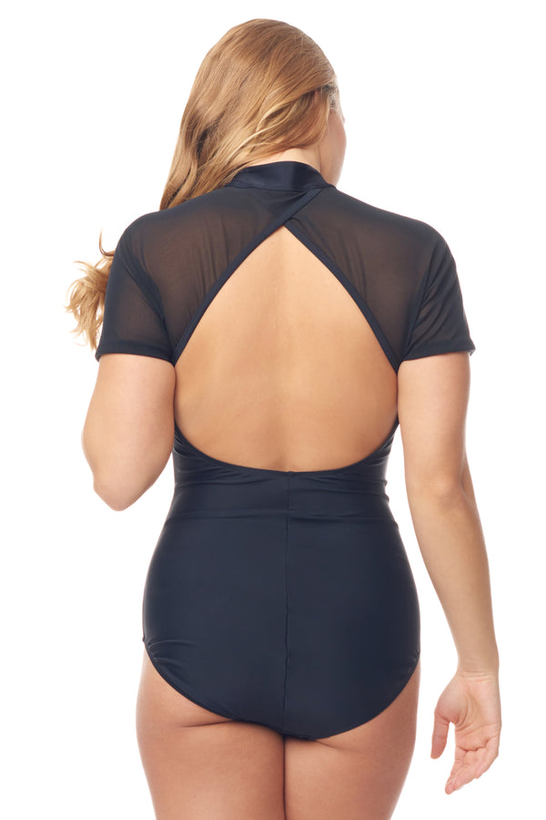 Black Mesh Zipper Swimsuit