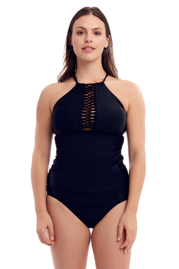 Black High Neck Tankini Top
