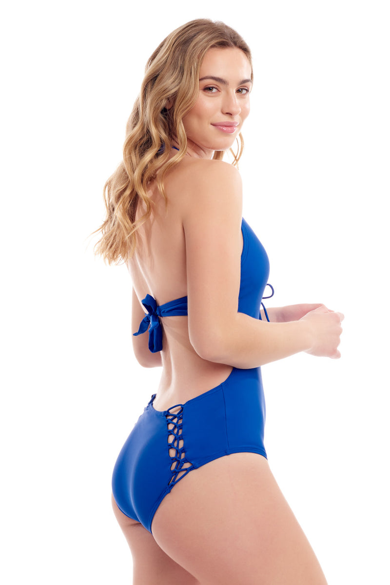 Blue Halter One Piece Swimsuit
