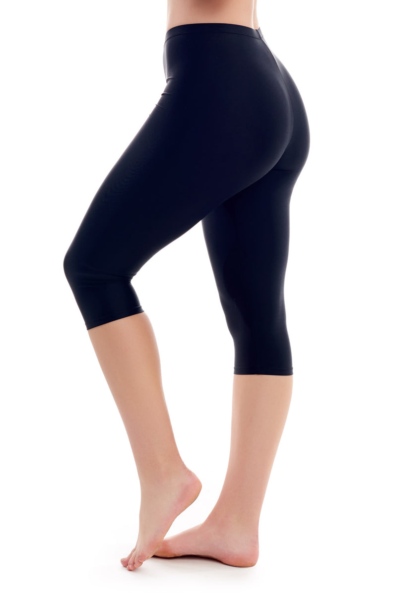 Black Capri Swim Bottom