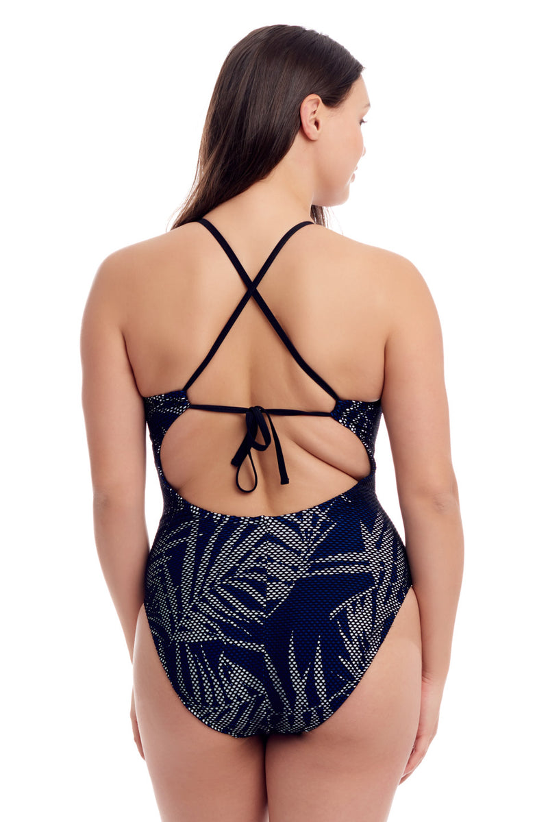 Blue Leaf Fish Net One Piece