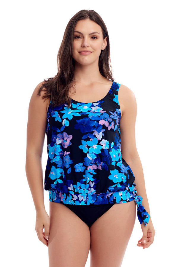 Flower Blouson Tankini Top