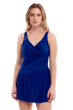 Blue Ruched Swimdress