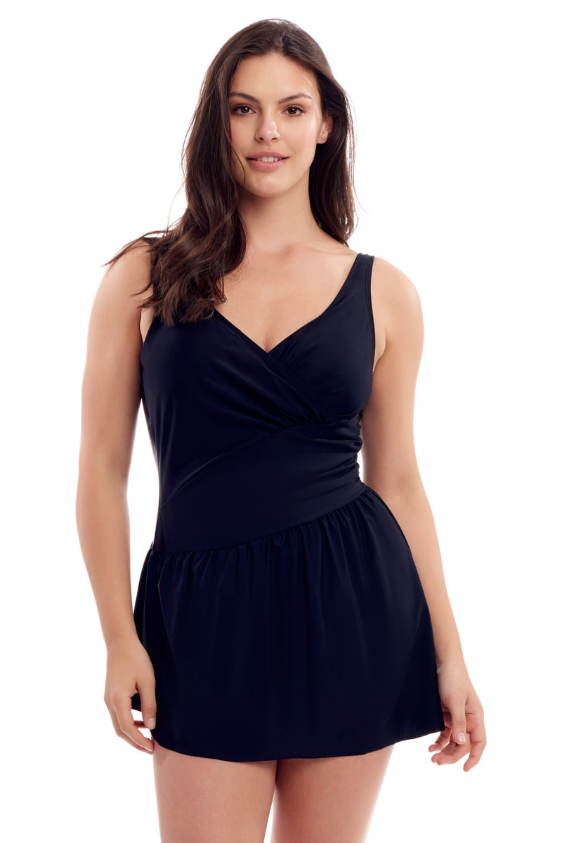Black Ruched Swimdress