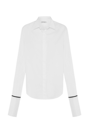 Anne Cotton Twill Shirt with Black Silk Trim