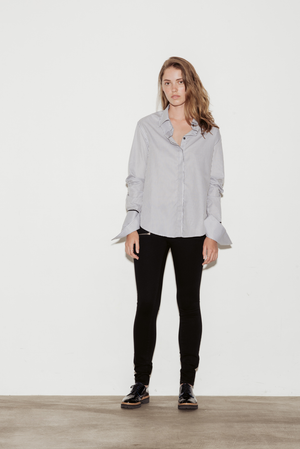 Anne Cotton Twill Stripe Shirt with Black Silk Trim