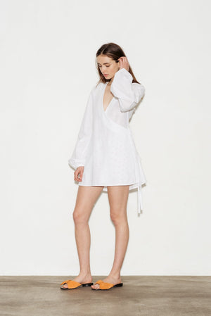 Broderie Cotton Wrap Dress