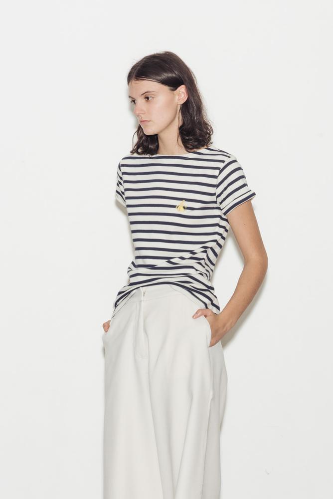 Banana Breton Striped Boat Neck Cotton T-Shirt