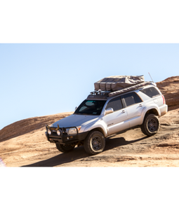 Toyota 4Runner 4th Gen baja off road offroad roof rack gobiracks gobirack gobi stealth ranger light bar multi light setup wind deflector