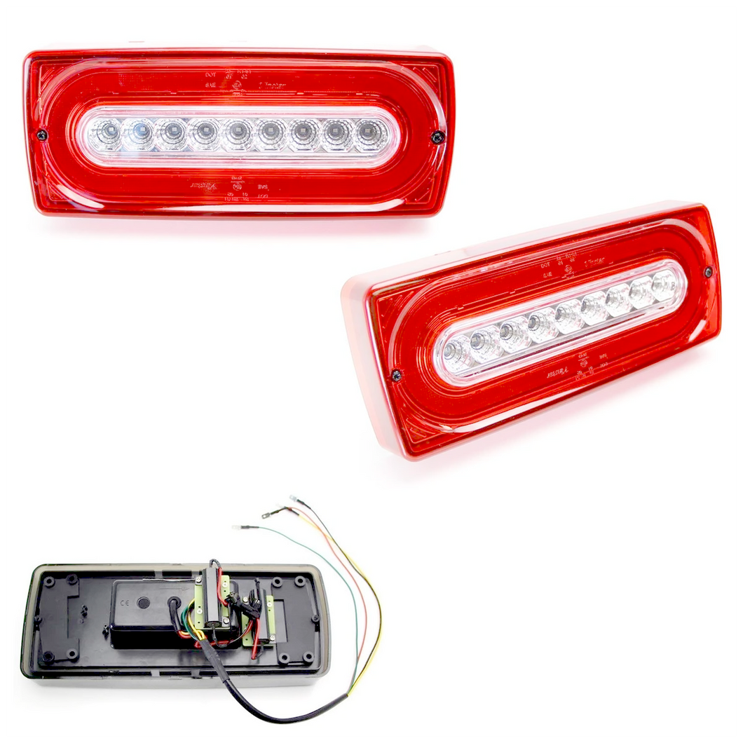 G Wagon Tail Light Rear Turn Signal LED ijdmtoy Laser Style Sequential Blink Red and Clear