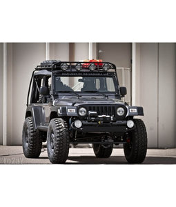 jeep TJ baja off road offroad roof rack gobiracks gobirack gobi stealth ranger light bar multi light setup wind deflector