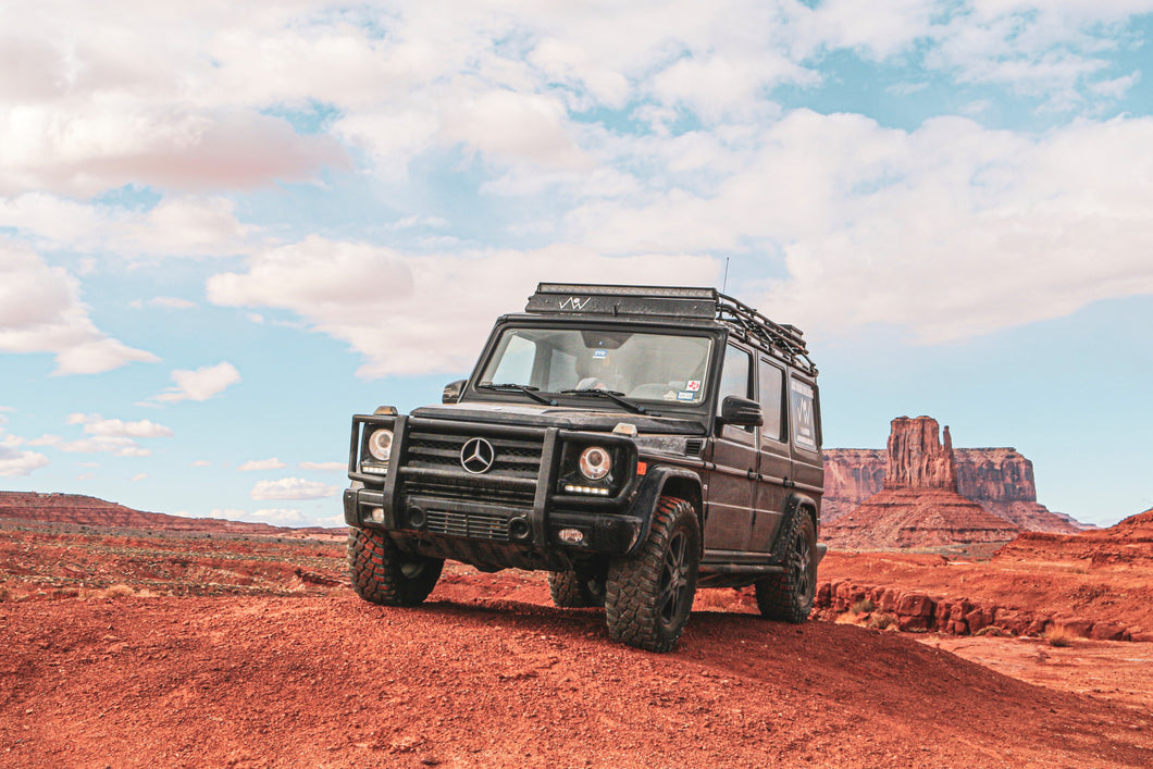 blacked out mercedes benz g wagon gobi racks stealth roof rack