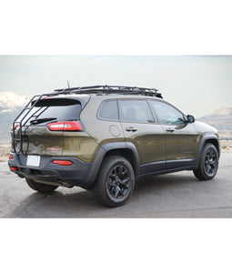 jeep cherokee KL baja off road offroad roof rack gobiracks gobirack gobi stealth ranger light bar multi light setup wind deflector