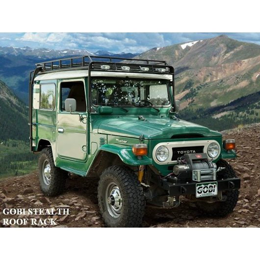 Toyota FJ40 baja off road offroad roof rack gobiracks gobirack gobi stealth ranger light bar multi light setup wind deflector