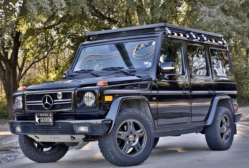 mercedes benz g wagon g wagen g class g230 g350 g500 g55 g550 g63 amg front runner roof rack ladder luggage mount light bar