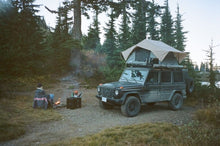 mercedes benz g wagon camping with front runner roof top tent and roof rack