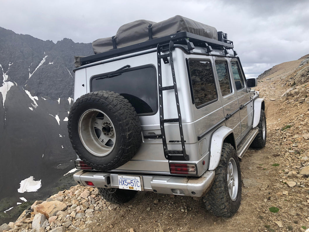 g wagon rear ladder for roof rack by ORC in Germany featured here off roading in Canada
