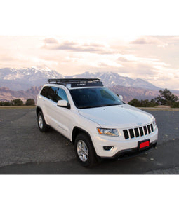 jeep grand cherokee WK2 baja off road offroad roof rack gobiracks gobirack gobi stealth ranger light bar multi light setup wind deflector