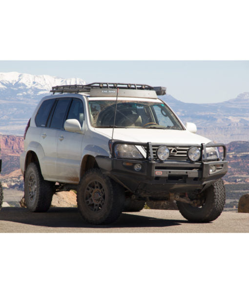 Lexus GX470 baja off road offroad roof rack gobiracks gobirack gobi stealth ranger light bar multi light setup wind deflector