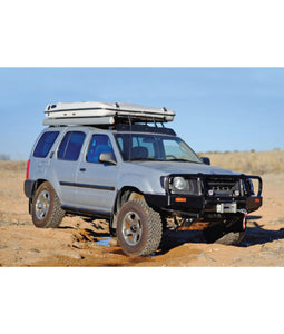 Nissan XTerra baja off road offroad roof rack gobiracks gobirack gobi stealth ranger light bar multi light setup wind deflector
