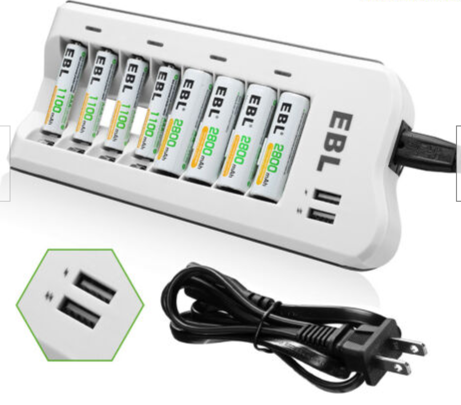 8-Slots EBL Rechargeable Battery Charger for AA/AAA NIMH-NICD Cells