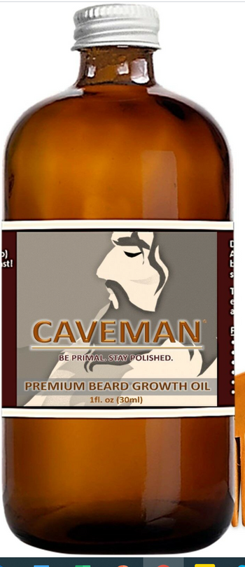 Caveman's Premium Beard Growth Oil Grooming Kit With Comb-Fast Results.