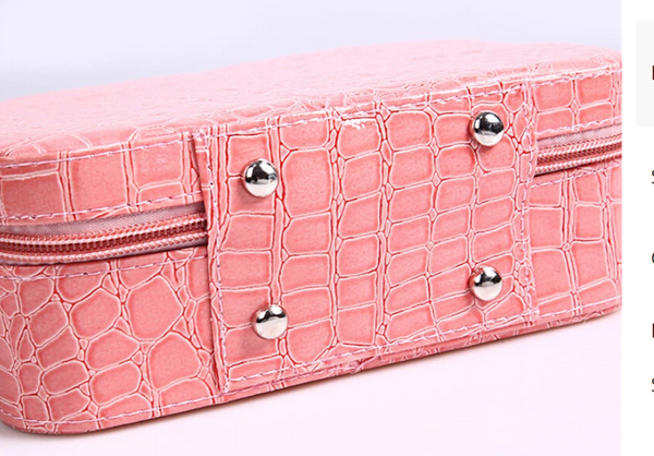 Portable Cosmetic Bag Stone Crocodile Pattern Exotic Large Cap Pink