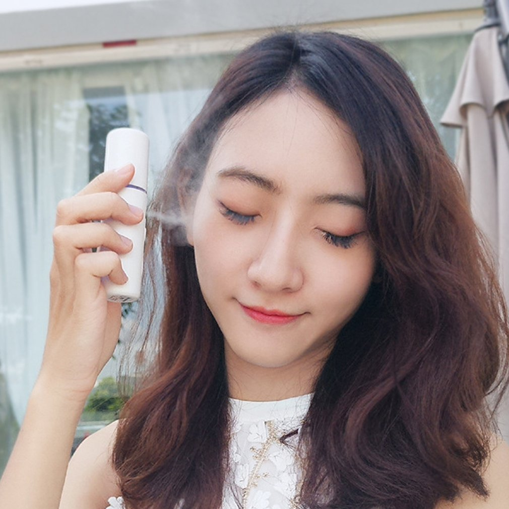 Handheld Rechargeable Facial-Steamer Mini Humidifier With Mirror