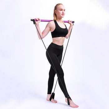 Pilates Resistance Band Bar Kit For Yoga And Total Body Workout