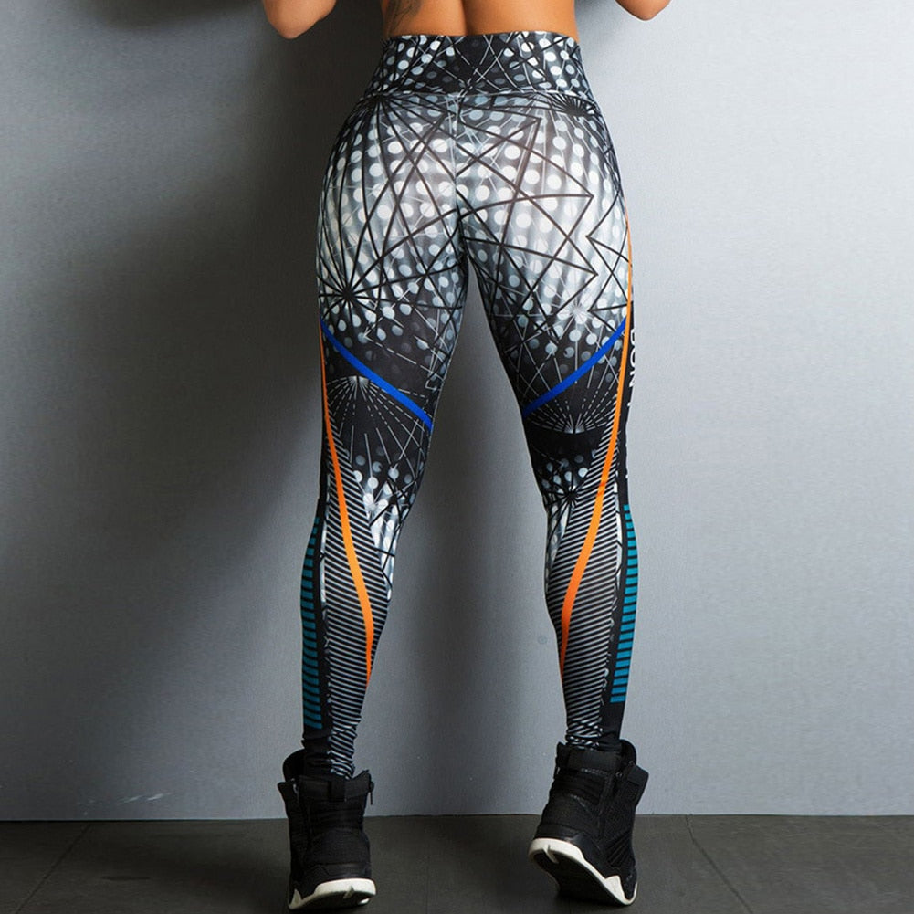 Women Intricately Geometric-Patterned 'Don't Stop'-Print High Waist Leggings.