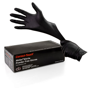 Correct-Touch Nitrile Disposable Examination Gloves - Black (5 Mil)