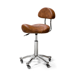 Durable Saddle Swivel Stool with Backrest