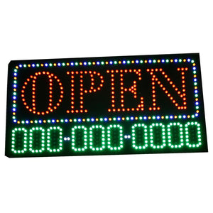 LED Open Sign with Phone Number Display