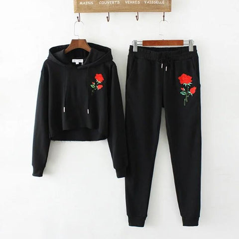 CASUAL EMBROIDERED ROSE HARAJUKU SWEATER + SWEATPANTS SET