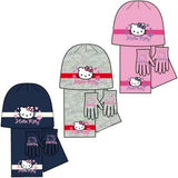 Kids Girls Hello Kitty Knitted Jersey Set of Warm Bonnet, Scarf and Magic Gloves
