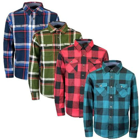 Boys Long Sleeve Cotton Flannel Check Shirt