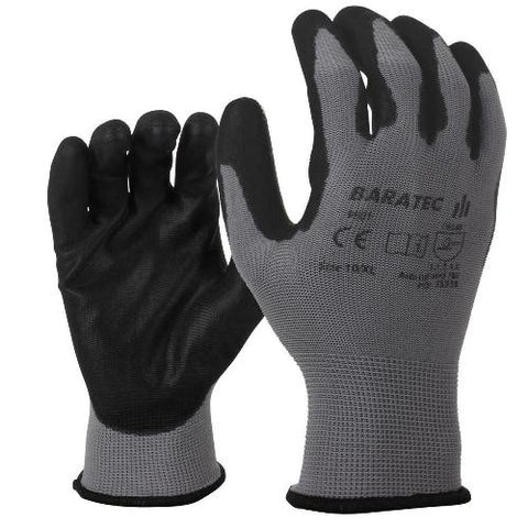 12 x Baratec Workwear Gripper Glove with PU Coated Palm & Fingers