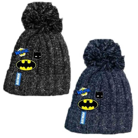Kids Single Pom Batman Knitted Jersey Hat