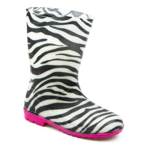 Kids Girls Zebra Rain Boots PVC Wellies