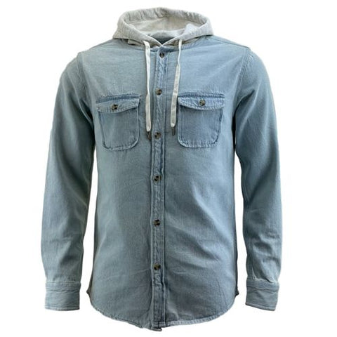Mens Hooded Denim Work Shirt
