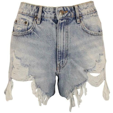 Women's Light Wash ripped Denim Shorts Hot Pants
