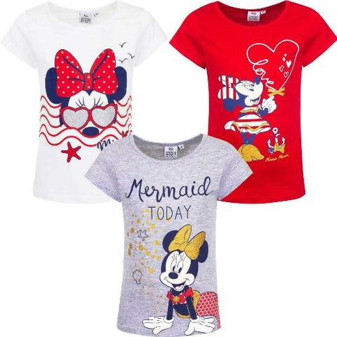 Girls Crew Neck T-Shirt Licenced Minnie Marin with Glitter