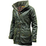 Game Ladies Cantrel Antique Waxed Jacket Olive Side