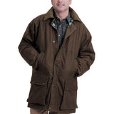 Game Mens British Padded Wax Jacket Brown Model