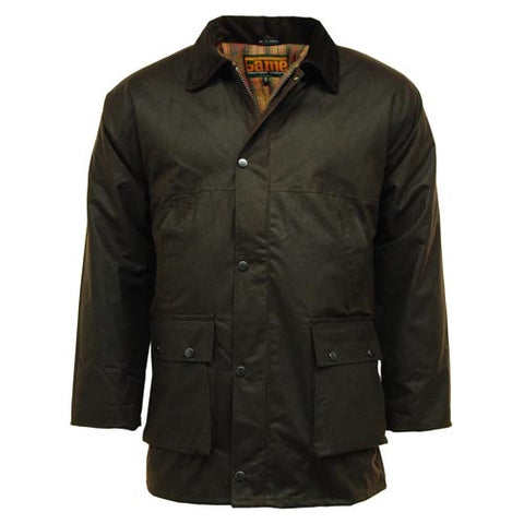 Game Mens British Padded Wax Jacket Black