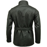 Game Mens Continental Motorcycle Wax Jacket Black Back