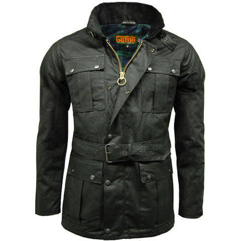 Game Mens Continental Motorcycle Wax Jacket Black