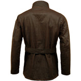 Game Mens Continental Motorcycle Wax Jacket Brown Back