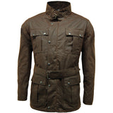 Game Mens Continental Motorcycle Wax Jacket Brown Closed