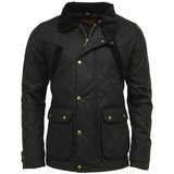 Game Oxford Quilted Wax Jacket Black